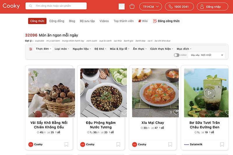 Giao diện Cooky - trang web chia sẻ công thức nấu ăn hàng đầu hiện nay